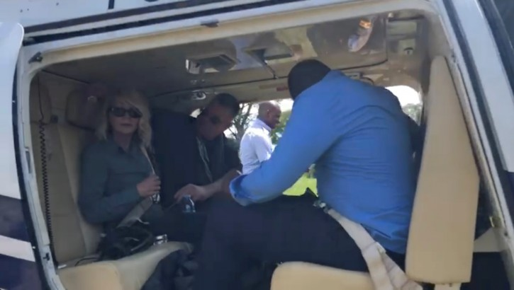 U.S. tourist Kimberly Sue Endicott is seen after her rescue as she departs for Kampala, Uganda, in this still image taken from a video obtained by social media on April 9, 2019. Wild Frontiers/via REUTERS