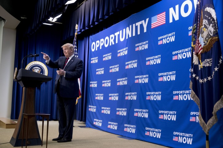 President Donald Trump appears at an Opportunity Zone conference with state, local, tribal, and community leaders South Court Auditorium of the Eisenhower Executive Office Building, on the White House complex, Wednesday, April 17, 2019, in Washington. (AP Photo/Andrew Harnik)