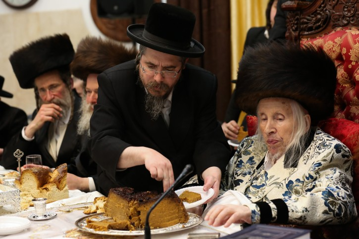Grand Rabbi Menachem Mendel Taub of the Kaliv (Hasidic dynasty) at a special ceremony marking Hilulat Moshe Rabbeinu, at the Kaliv (Hasidic dynasty) in Jerusalem on March 13, 2019. Photo by David Cohen/Flash90