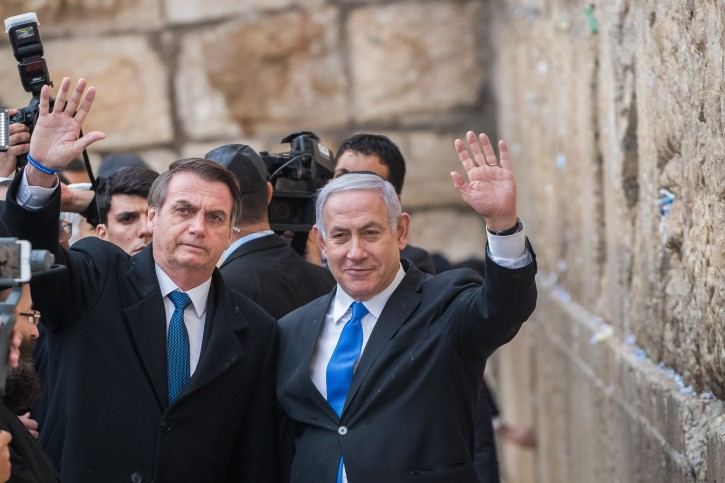 Brazilian president Jair Bolsonaro and Israeli Prime Minister Benjamin Netanyahu, seen during a visit at the Western Wall, Judaism's holiest site, in Jerusalem's Old City on April 1, 2019. Photo by Yonatan Sindel/Flash90