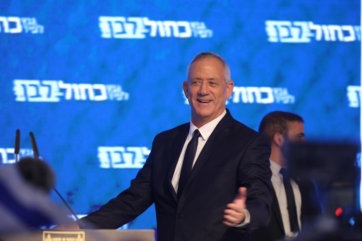 Head of the Blue White political party Benny Gantz speaks to supporters as the results in the Israeli general elections are announced,  at the party headquarters in Tel Aviv, on April 09, 2019. Photo by Noam Revkin Fenton/FLASH90