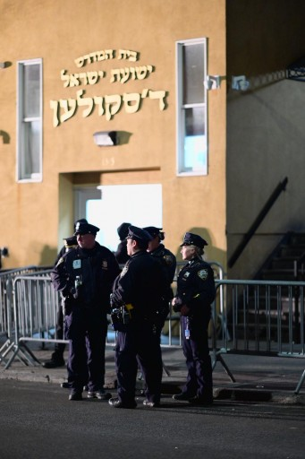Police in Borough Park out side the Shul. Eli Wohl