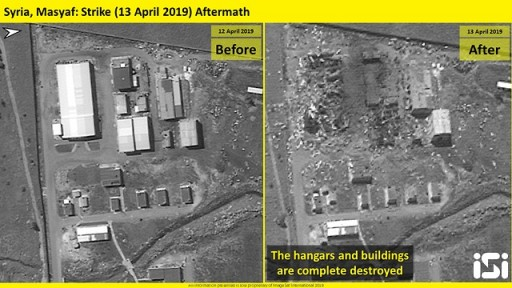 Satellite images after the attack in the city of Masyaf in Syria (Photo: ImageSat International )
