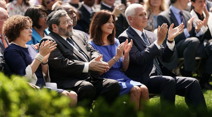 From left, Pastor Marilyn Rivera, Rabbi Abba Cohen, Karen Pence and Vice President Mike Pence participate in a National Day of Prayer service in the Rose Garden at the White House, May 2, 2019. (Chip Somodevilla/Getty Images)