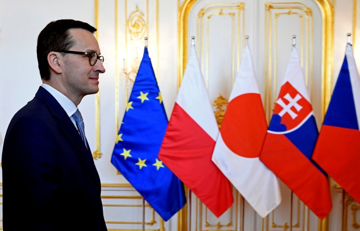 Polish Prime Minister Mateusz Morawiecki arrives at a summit of  the Visegrad Group of central European nations and Japan in Bratislava, Slovakia, April 25, 2019.   REUTERS/Radovan Stoklasa/File Photo