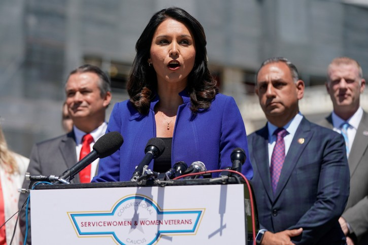 Rep. Tulsi Gabbard (D-HI) speaks about the formation of the Congressional Servicewomen and Women Veterans Caucus on Capitol Hill in Washington, U.S., May 15, 2019.      REUTERS/Joshua Roberts