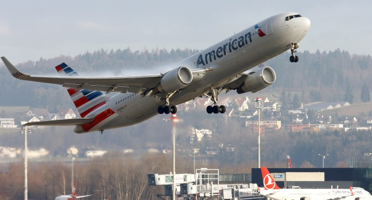 FILE - An American Airlines Boeing 767-300ER aircraft takes off from Zurich Airport January 9, 2018.   REUTERS/Arnd Wiegmann/File Photo