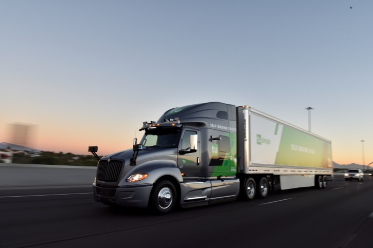 The TuSimple self-driving truck is pictured in this undated handout photo obtained by Reuters May 20, 2019.  TuSimple/Handout via REUTERS