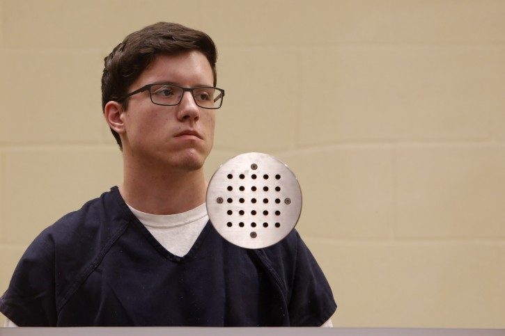 FILE - In this April 30, 2019 file photo John T. Earnest appears for his arraignment hearing in San Diego. The 19-year-old suspect in the fatal shooting at a Southern California synagogue is scheduled to make his first court appearance Tuesday, May 14, 2019, on federal hate crime charges. (Nelvin C. Cepeda/The San Diego Union-Tribune via AP, Pool, File)
