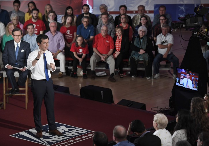 Democratic presidential candidate South Bend, Ind., Mayor Pete Buttigieg speaks during a FOX News Channel town hall moderated by Chris Wallace, Sunday, May 19, 2019, in Claremont, N.H. (AP Photo/Jessica Hill)