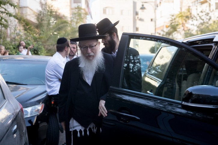 FILE - Deputy Health Minister, Yaakov Litzman arrives for a meeting of the Council of Torah Sages regarding the recruitment law in Jerusalem on October 14, 2018. Photo by Yonatan Sindel/Flash90