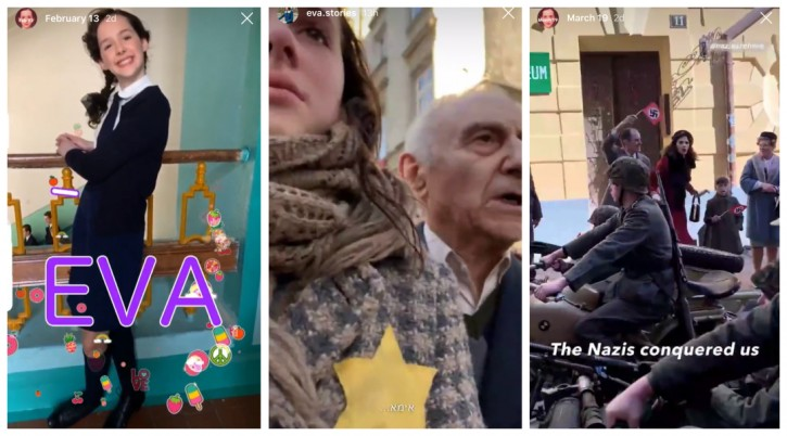 Eva.Stories is a dramatized version of the life of Eva Heyman, a 13-year-old Jewish girl killed in Auschwitz. (Screenshot from Eva.Stories on Instagram)