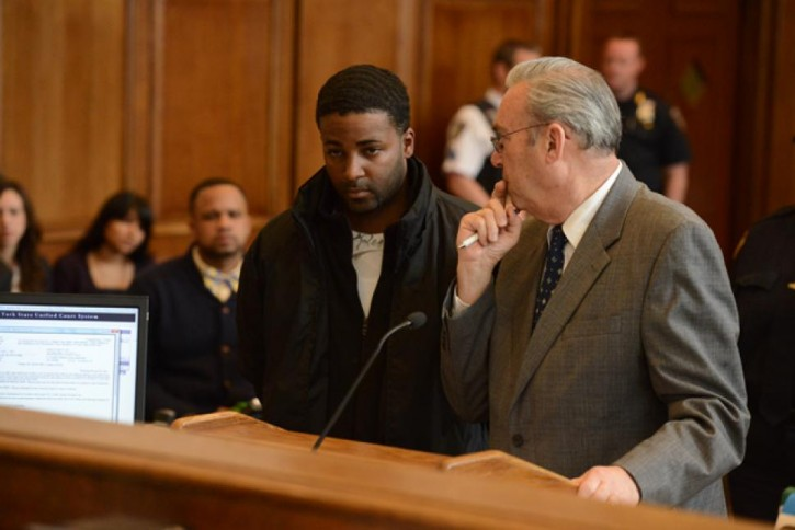 FILE - Kendel Felix (pictured left in court May 1 2014) is arraigned for the murder of Menacham Stark in Brooklyn Criminal Court. AP