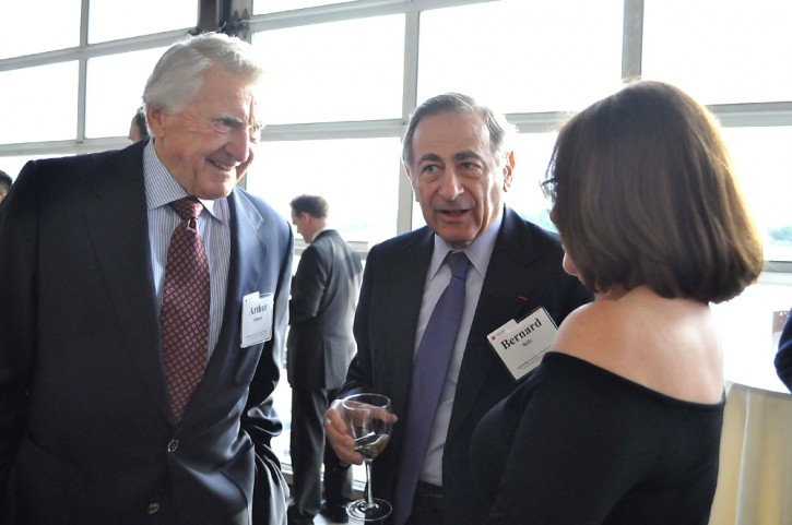 (L-R) Late Arthur Stamm, Bernard Selz and President of LaGuardia Community College Gail Mellow
