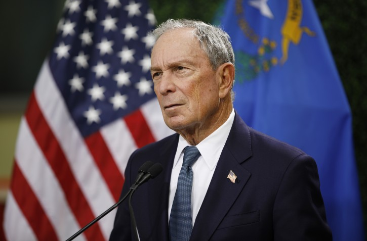Former New York Mayor Michael Bloomberg speaks at a news conference at a gun control advocacy event, Tuesday, Feb. 26, 2019, in Las Vegas. (AP Photo/John Locher)