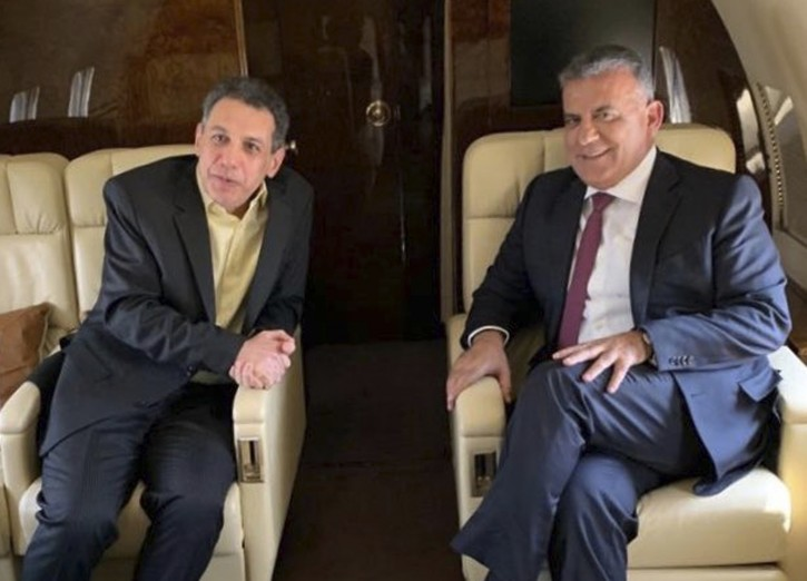 This photo released on the official twitter page of the Lebanese General Security Directorate, shows Maj. Gen. Abbas Ibrahim, right, chief of Lebanese General Security Directorate, and Nizar Zakka, left, a Lebanese citizen and permanent U.S. resident who was released in Tehran after nearly four yeas in jail, aboard the flight from Iran to Lebanon, Tuesday, June 11, 2019. (The official twitter page of the Lebanese General Security Directorate via AP)