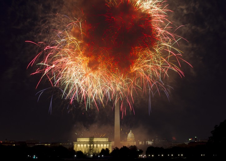FILE - In this July 4, 2018, file photo, fireworks explode over Lincoln Memorial, Washington Monument and U.S. Capitol, along the National Mall in Washington, during the Fourth of July celebration. AP