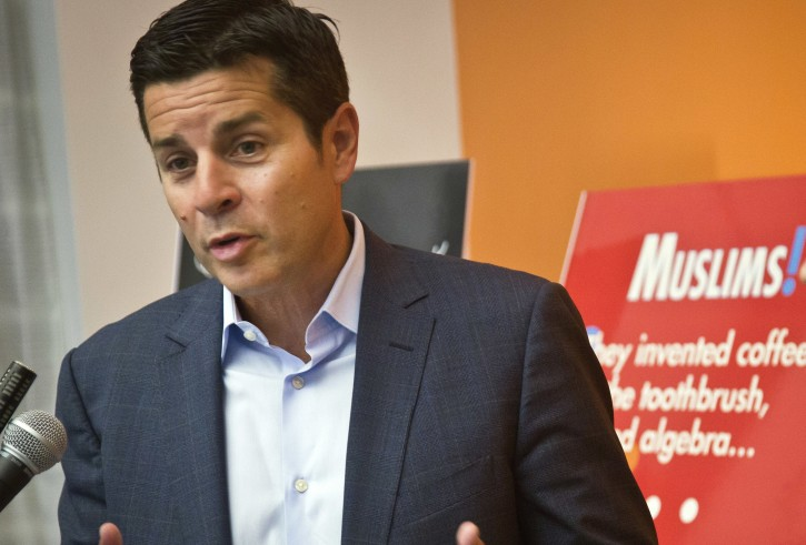 FILE - In this June 25, 2015, file photo, Muslim comedian Dean Obeidallah speaks at a news conference in New York. (AP Photo/Bebeto Matthews, File)
