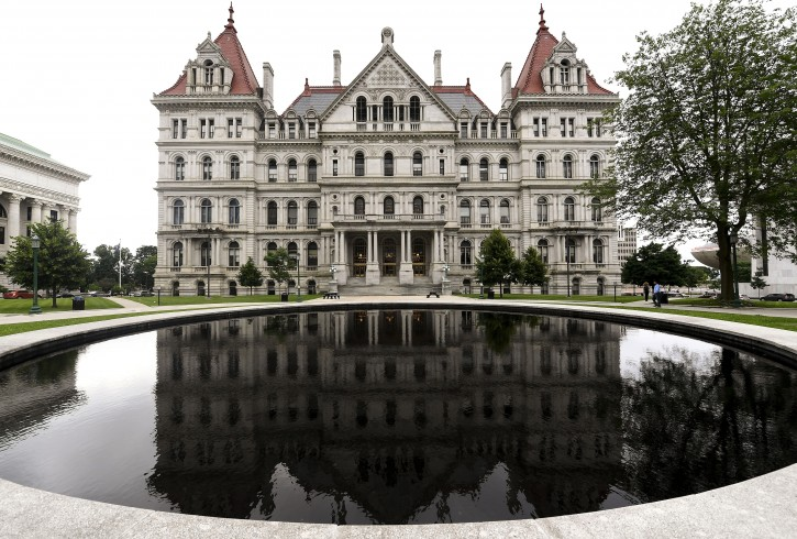 Exterior view of the New York state Capitol Wednesday, June 19, 2019, in Albany, N.Y.  (AP Photo/Hans Pennink)