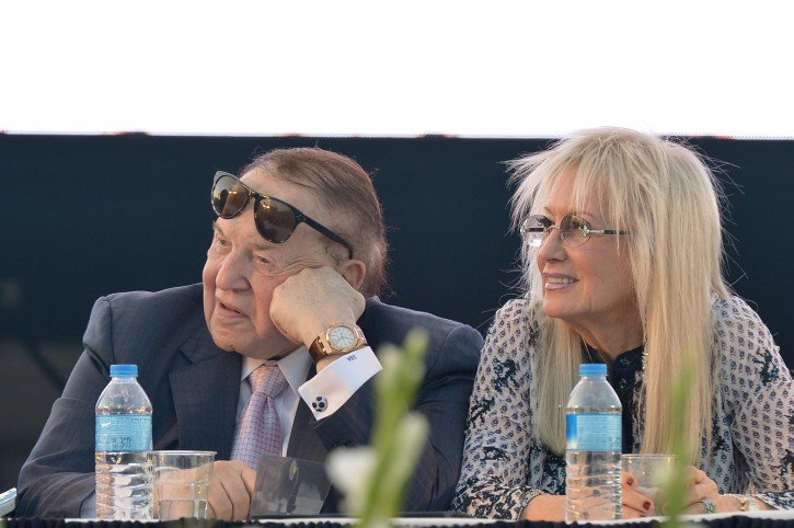 FILE - American businessman and investor Sheldon Adelson with his wife Miriam at the ceremony for a new Faculty of Medicine at Ariel University in the West Bank, on August 19, 2018. Photo by Ben Dori/Flash90