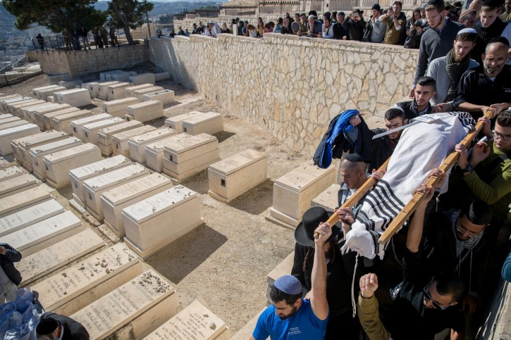 FILE - Friends and family members carry the body, during a funeral at the Mount Of Olives cemetery in Jerusalem, on Demcember 14, 2018. Flash90