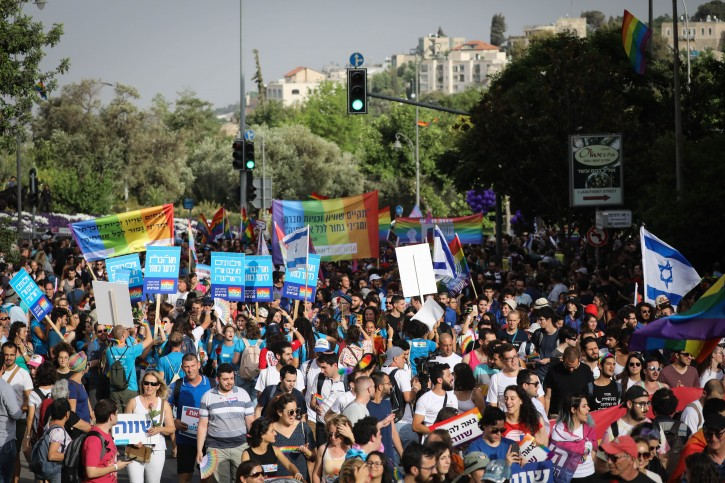 Thousands of people take part in the annual Gay Pride Parade in Jerusalem, on June 6, 2019. Photo by Yonatan Sindel/Flash90