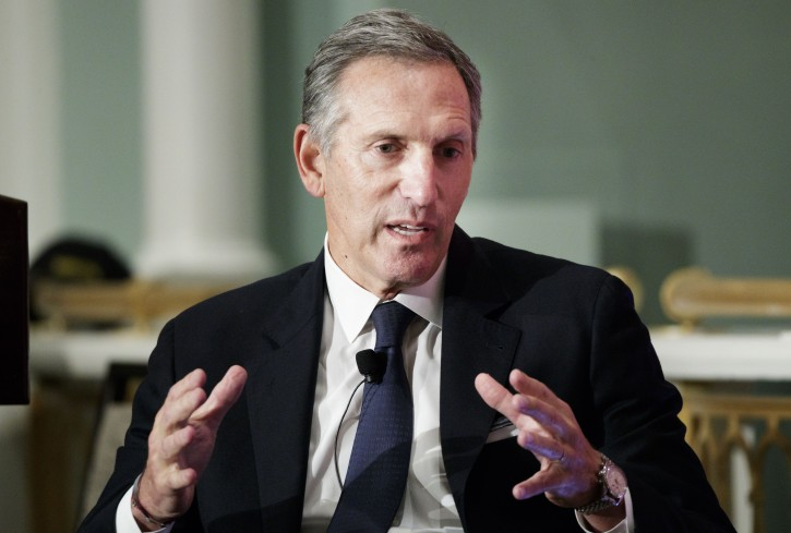 FILE - Howard Schultz, then Executive Chairman of Starbucks, speaks during an event with the Economic Club of New York in New York, New York, USA, 24 May 2017. EPA