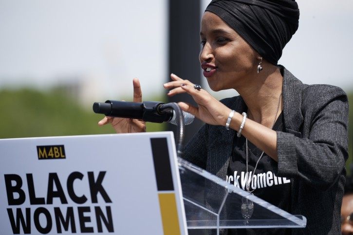 FILE -  US Democratic Congresswoman from Minnesota Ilhan Omar participates in a rally held in her support and calling for congress to censure President Trump at Union Square near the US Capitol in Washington, DC, USA, 30 April 2019. EPA