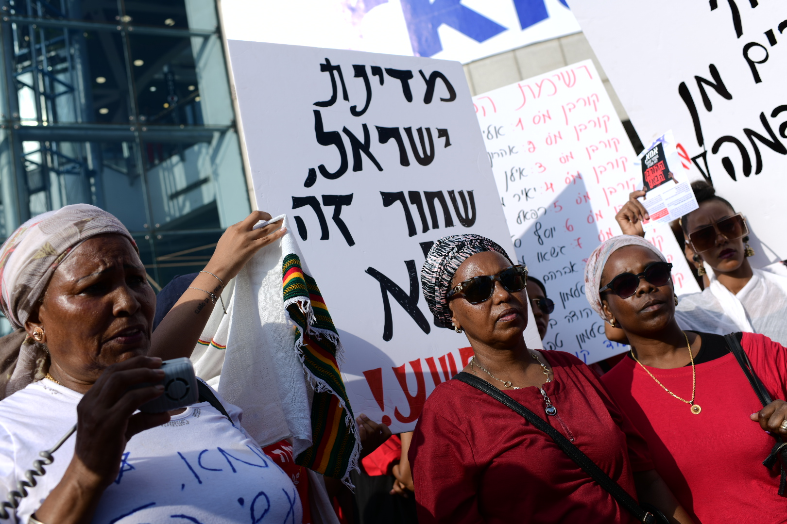 Ethiopians and supporters take part in a protest against police violence and discrimination following the death of 19-year-old Ethiopian, Solomon Tekah who was shot and killed few days ago in Kiryat Haim by an off-duty police officer, in Tel Aviv, July 8, 2019. Photo by Tomer Neuberg/Flash90