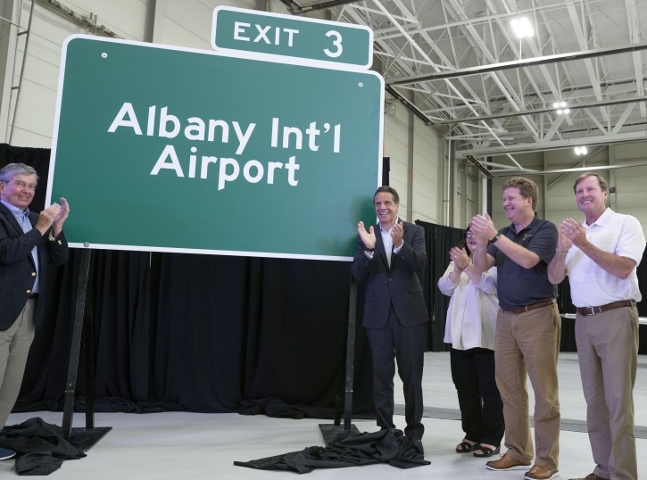 July 9, 2019 - Colonie, NY - Governor Andrew M. Cuomo delivers remarks during an event at the Albany International Airport in Colonie.  (Mike Groll/Office of Governor Andrew M. Cuomo)