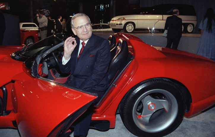 Chrysler Corporation Chairman Lee A. Iacocca sits in a 1990 Dodge Viper sports car as the ?Chrysler in the 90's six city tour makes a visit to New York, Wednesday, March 28, 1990. The promotion, which highlights Chrysler?s effort to overcome Japanese competition, moves next to Chicago and Los Angeles. (AP Photo/Osamu Honda)