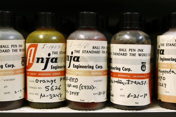 In this June 27, 2019 photo, ink samples collected by former U.S. Secret Service chief chemist Antonio Cantu sit on a shelve in a newly-dedicated International Ink Library in remembrance of Cantu at the Secret Service headquarters building in Washington. The library contains more than 15,000 samples of pen, marker and printer inks dating back to the 1920s. (AP Photo/Patrick Semansky)