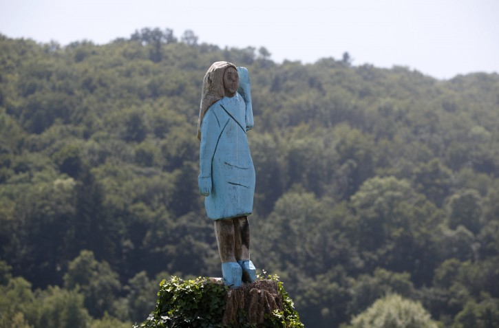In this Friday, July 5, 2019 photo, a sculpture created by American artist Brad Downey depicting Melania Trump is seen in her hometown in Sevnica, Slovenia. A life-size sculpture of the U.S. first lady has been unveiled in her hometown of Sevnica, drawing mixed reactions from the locals. (AP Photo/Miro Majcen)