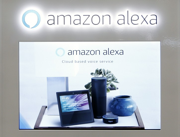 FILE - In this Monday, Aug. 7, 2017 file photo, an Amazon Alexa display is seen at a store in Hialeah, Fla. (AP Photo/Alan Diaz, file)