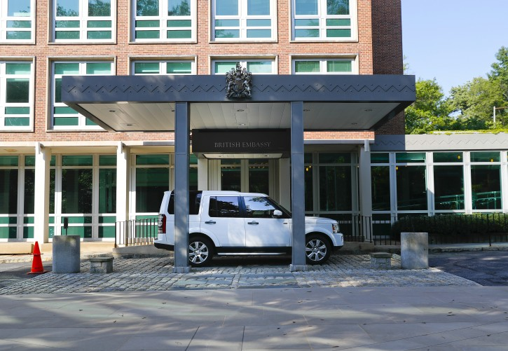 A vehicle is seen parked outside the entrance to the British Embassy in Washington, Wednesday, July 10, 2019.  (AP Photo/Pablo Martinez Monsivais)