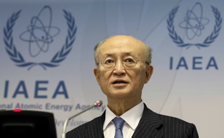 In this Thursday, Nov. 22, 2018, file photo, director General of the International Atomic Energy Agency, IAEA, Yukiya Amano of Japan, addresses the media during a news conference after a meeting of the IAEA board of governors at the International Center in Vienna, Austria.(AP Photo/Ronald Zak)