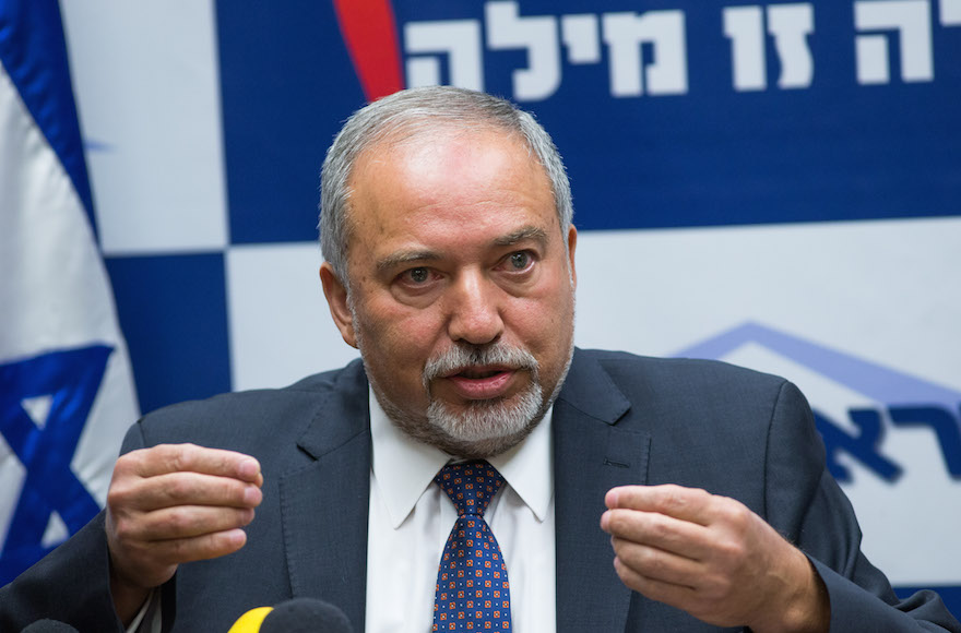 Leader of the Israel Beyteinu political party Avigdor Liberman leads a press conference in the Israeli parliament on May 18, 2016. Photo by Yonatan Sindel/Flash90