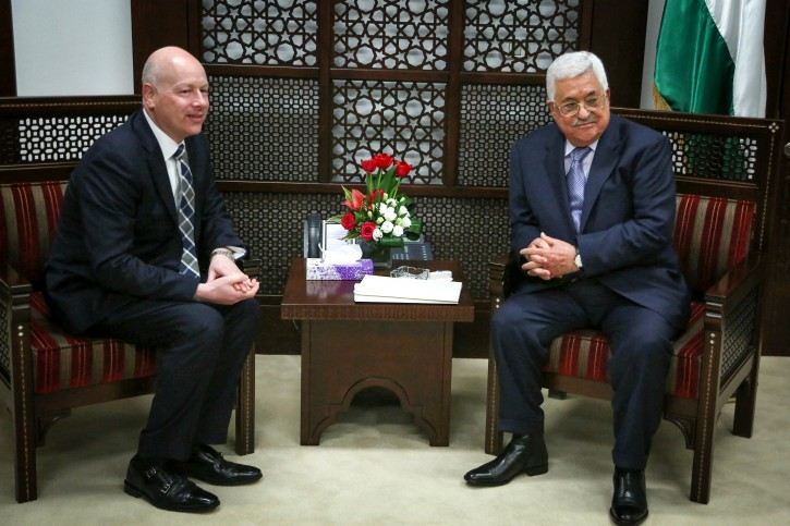 FILE - Palestinian president Mahmoud Abbas (R) meets with Jason Greenblatt, Donald Trump special representative for international negotiations in the West Bank city of Ramallah, March 14, 2017. Photo by Flash90