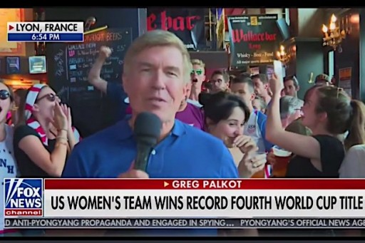 """Following the U.S. Women's Soccer team's victory in the FIFA World Cup on Sunday, a Fox News segment from a sports bar in France took an expletive-filled turn after American fans can be seen and heard chanting """"f— Trump"""" in the background."""