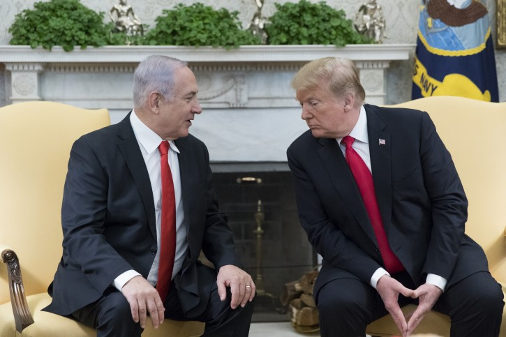 FILE - US President Donald J. Trump (R) and Prime Minister of Israel Benjamin Netanyahu (L) deliver remarks to members of the news media during their meeting in the Oval Office of the White House in Washington, DC, USA, 25 March 2019. EPA