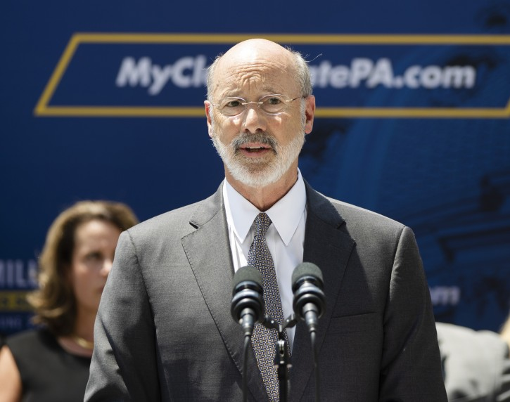 """Pennsylvania Gov. Tom Wolf speaks during a news conference in Harrisburg, Pa., Friday, June 28, 2019. Lower level criminal convictions are starting to be automatically sealed under a year-old Pennsylvania state law touted as a way to give offenders a fresh start. State officials and other supporters touted the new phase of the """"clean slate"""" legislation Friday in Harrisburg, calling the program a model for other states. (AP Photo/Matt Rourke)"""