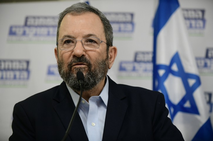Former Israeli Prime Minister and leader of Israel Democratic party, Ehud Barak speaks during a press conference announcing the newly formed Democratic Camp political alliance, ahead of the Israeli General Elections, in Tel Aviv on July 25, 2019. (Photo by Tomer Neuberg/Flash90)