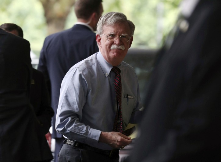 US National Security Advisor John Bolton arrives at the Intercontinental Hotel, in Mayfair, central London, to speak to members of the UK media on relations with Prime Minister Boris Johnson and his new government, Brexit and national security issues such as 5G and Iran. PRESS ASSOCIATION Photo. Picture date: Monday August 12, 2019. Photo credit should read: Yui Mok/PA Wire
