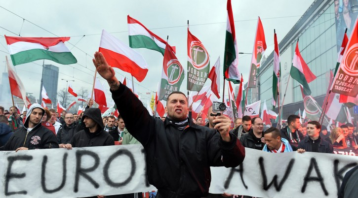 Hungarian supporters of the far-right Jobbik party participate in a nationalist march through Warsaw, Poland, Nov. 11, 2015. (Janek Skarzynski/AFP/Getty Images)
