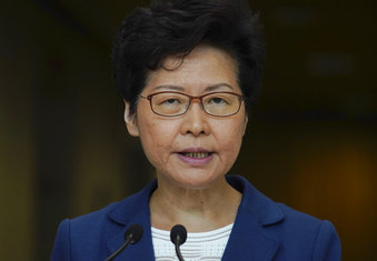 Hong Kong Chief Executive Carrie Lam speaks during a press conference in Hong Kong, Tuesday, Oct. 8, 2019. (AP Photo/Vincent Yu