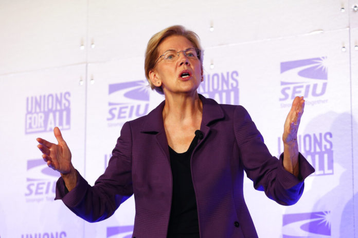 Democratic presidential candidate Sen. Elizabeth Warren, D-Mass., speaks at the SEIU Unions For All Summit on Friday, Oct. 4, 2019, in Los Angeles. (AP Photo/Ringo H.W. Chiu)