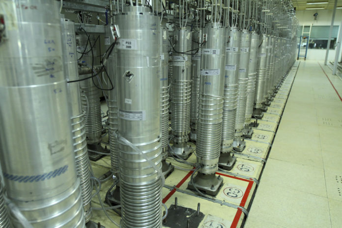 This photo released on Tuesday, Nov. 5, 2019 by the Atomic Energy Organization of Iran shows centrifuge machines in Natanz uranium enrichment facility in central Iran. Iran announced on Monday that had started gas injection into a 30-machine cascade of advanced IR-6 centrifuges in Natanz complex. (Atomic Energy Organization of Iran via AP)